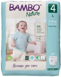 Bambo Nature Diapers No. 1 SIZE 4 PANTS- (Weight: 7-14 KG)