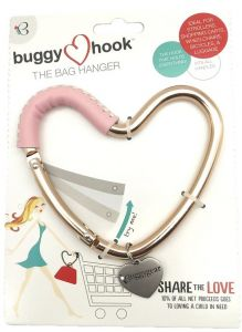 Buggygear Rose Gold Pink Leather Heart Buggy Hook