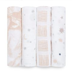 aden + anais Essentials 4-Pack Muslin Swaddles To the Moon