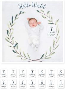 Lulujo - Baby's First Year Blanket&Cards Set Hello World 1