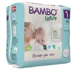 Bambo Nature Diapers No. 1 SIZE 1 (Weight: 2-4 KG)