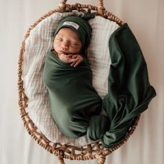 Olive Baby Jersey Wrap and Beanie Set