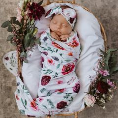 Peony Bloom I Baby Jersey Wrap and Topknot Set