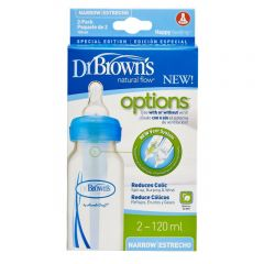 "drbrowns 4 oz / 120 ml PP Narrow-Neck ""Options"" Baby Bottle - Blue, 2-Pack"