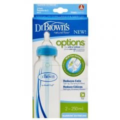 "dr browns 8 oz / 250 ml PP Narrow-Neck ""Options"" Baby Bottle - Blue, 2-Pack"