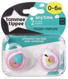 Tommee Tippee  Anytime Soother, Pack of 2,  (0-6 months) - White,Blue & Pink