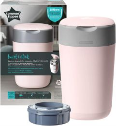 Tommee Tippee Twist & Click, Advanced Nappy Disposal Bin Sangenic Tec-Pink