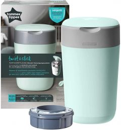 Tommee Tippee Twist & Click, Advanced Nappy Disposal Bin Sangenic Tec -Green